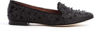 Sam Edelman Black Adena Satin Crystal Stud Smoking Slipper