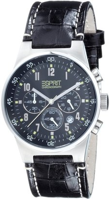 Esprit Men's ES000T31020 Black Leather Quartz Watch with Black Dial