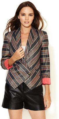 Twelfth St. By Cynthia Vincent Metallic Striped Silk Blazer