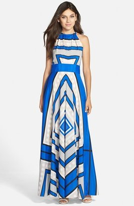 Women's Eliza J Scarf Print Crepe De Chine Fit & Flare Maxi Dress $158 thestylecure.com