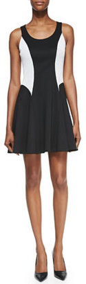 Ali Ro Sleeveless Scuba Colorblock Dress, Black/White