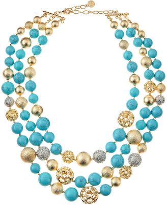 RJ Graziano Howlite and Golden Ball Necklace