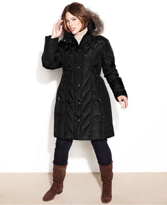 London Fog Plus Size Hooded Faux-Fur-Trim Quilted Puffer Coat
