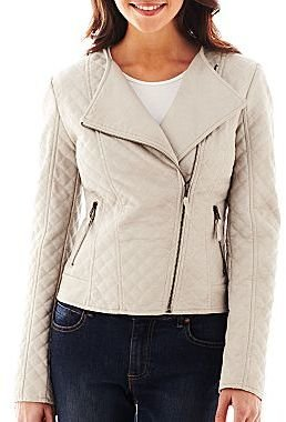 Coffee Shop Faux Leather Quilted Jacket