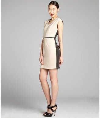 Walter beige and black jersey knit faux-leather trimmed dress