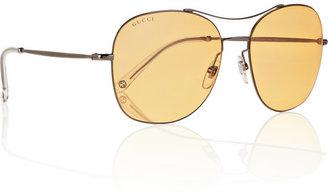 Square-frame metal sunglasses