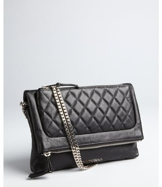 Jimmy Choo black leather 'Bex' double chain foldover small shoulder bag