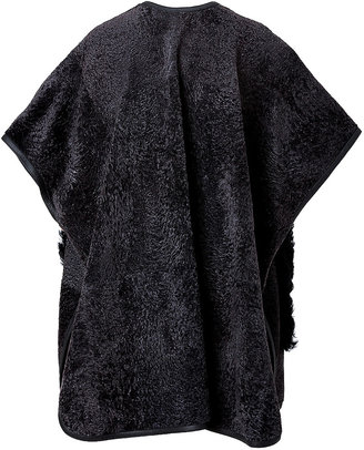 Emilio Pucci Lambskin Leather/Lamb Fur Cape in Nero