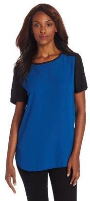 Chaus Women's Short Sleeve Crew Neck Colorblock Top