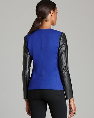 Vince Camuto Faux Leather Sleeve Blazer