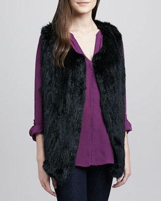 Joie Andoni Rabbit-Fur Vest, Caviar