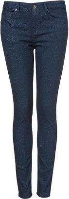 Topshop MOTO Navy Glitter Skinny Jeans