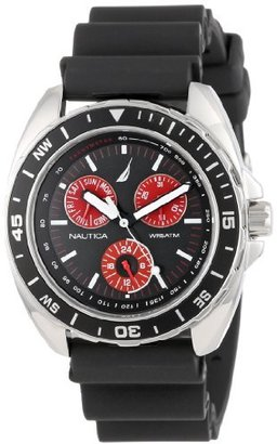 Nautica Men's N07577G Sport Ring Multifunction Black and Red Watch