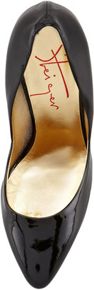 Walter Steiger Bowed-Heel Patent Leather Pump, Black