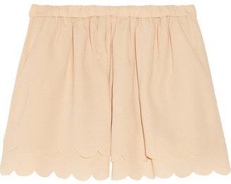 Maje Scallop-trimmed crepe shorts