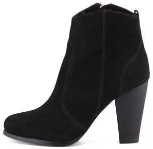 Joie Dalton Suede Stacked-Heel Bootie, Black