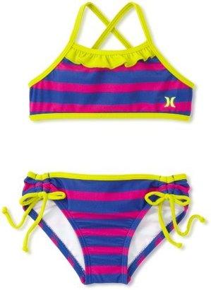 Hurley Girls 2-6X Minnow Stripe Sport Bra and Tunnel Swimwear