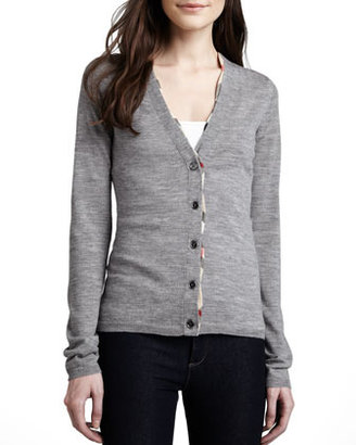 Burberry V-Neck Cardigan with Check Trim