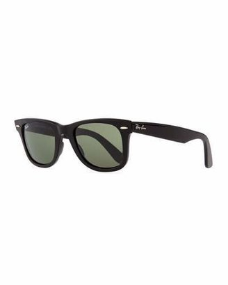 Ray-Ban Classic Wayfarer Sunglasses, Black/Green Lens $150 thestylecure.com