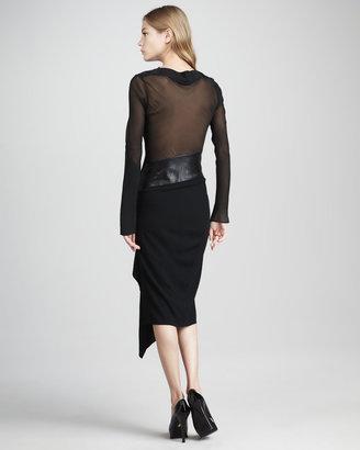 Diane von Furstenberg Sahib Mixed-Media Long-Sleeve Dress