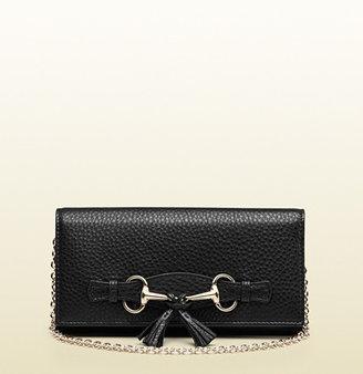 Gucci Black Leather Horsebit Chain Wallet