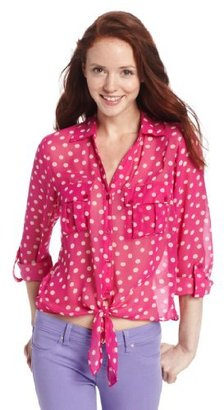 My Michelle Juniors Tie Front Shirt with Pockets