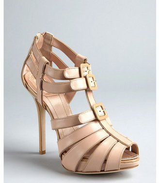 Christian Dior beige leather buckle cage sandals