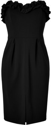 Moschino Black Strapless Dress with Ruffled Trim