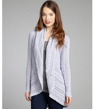 Autumn Cashmere lavender pointelle cotton draped cardigan