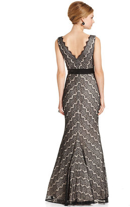 JS Collections Dress, Sleeveless Chevron-Lace Gown