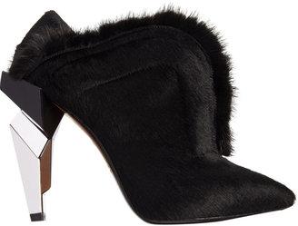Fendi Fur-Trimmed Haircalf Shoe Boot