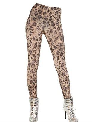 Blumarine Leopard Print Rayon Jersey Leggings
