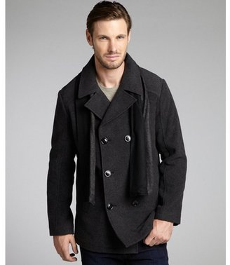 Kenneth Cole Reaction charcoal wool blend 'Melton' double breasted scarf peacoat