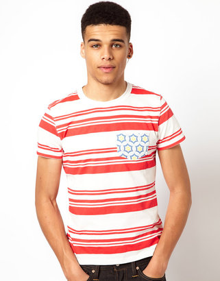 Evisu T-Shirt Gongen Stripe With Pattern Pocket