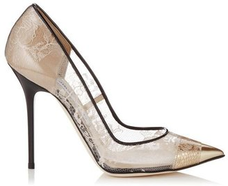 Jimmy Choo Toga Nude Perspex Lace, Mirror Leather and Black Patent Pointy Toe Pumps