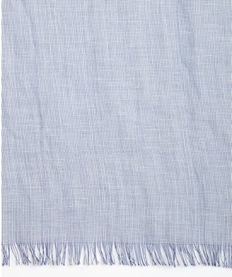 Tom Ford Navy And White Linen-Silk Blend Scarf