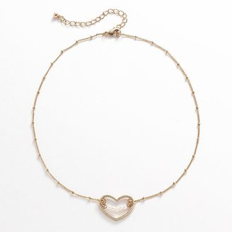 Lauren Conrad gold tone simulated pearl heart necklace