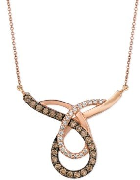 LeVian Le Vian Chocolate (3/4 ct. t.w.) and White (1/4 ct. t.w.) Loop Pendant Necklace in 14k Rose Gold