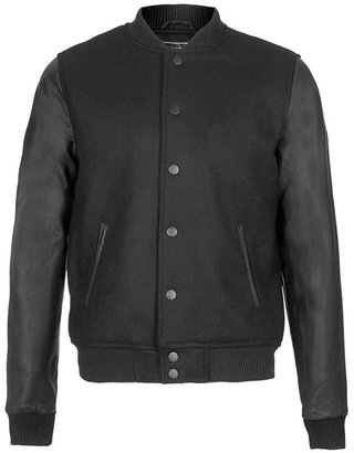 Topman Wool Blend Bomber Jacket with Faux Leather Sleeves