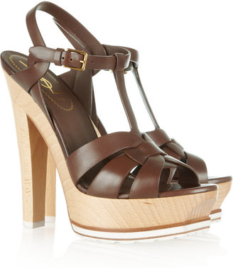 Yves Saint Laurent Tribute leather and wood sandals