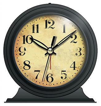 Infinity Instruments Boutique Black Antique Look Metal Alarm Clock