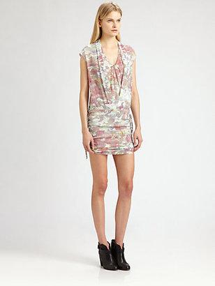 IRO Swan Stretch Silk Camo-Print Dress