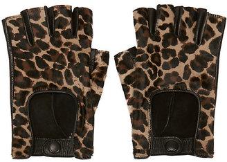 Agnelle Cheetah Print Haircalf Fingerless Driving Glove