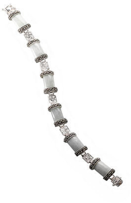 Lord & Taylor Sterling Silver And Marcasite Jade Link Bracelet