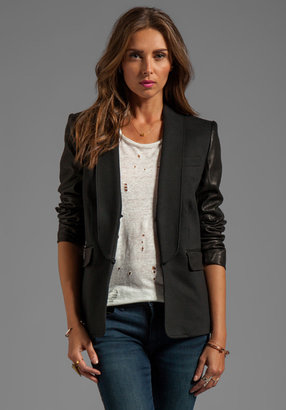 Alice + Olivia Hartley Leather Sleeve Blazer