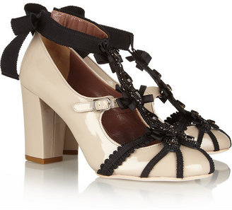 Creatures of the Wind Willow patent-leather and grosgrain pumps