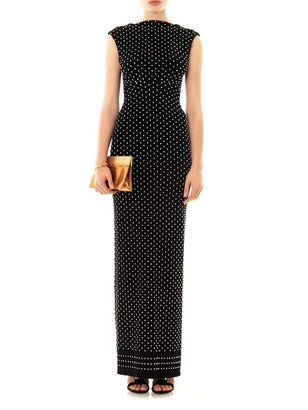Azzedine Alaia Pois luxe ribbed-knit evening gown