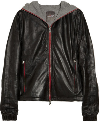 Duvetica Hooded leather down jacket