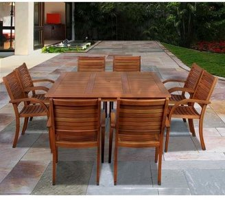 Amazonia Lauderdale 9-Piece Wood Square Patio Dining Furniture Set