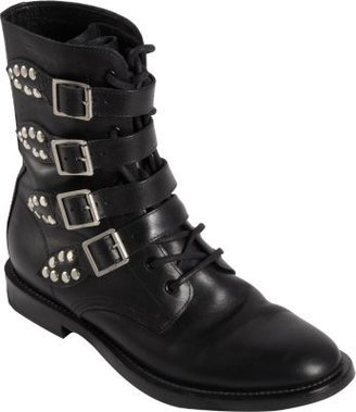 Saint Laurent Buckle Strap Rangers Boots